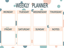 Cute blue pink printable weekly planner with circles Royalty Free Stock Photos
