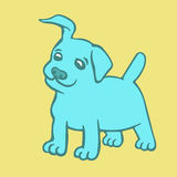 Cute blue puppy dog. Vector illustration. Cartoon fur character. Contour freehand digital drawing. Cheerful pet Royalty Free Stock Photography