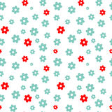Cute blue and red daisy flowers seamless pattern background illustration Stock Image