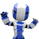 Cute Blue Robot Angry or Flexing Muscles Royalty Free Stock Photography