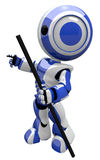 Cute Blue Robot With Hiking Staff Stock Photography