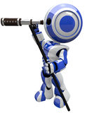 Cute Blue Robot Scout with Telescope Royalty Free Stock Photos
