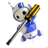 Cute Blue Robot with Screwdriver vector illustration
