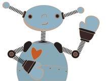Cute Blue Robot Waving Cartoon Illustration Royalty Free Stock Image