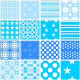 Cute blue seamless patterns. Endless texture. 16 Cute blue seamless patterns. Endless texture for wallpaper, fill, web page background, surface texture. Set of Stock Photo