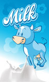 Cute blue smiling  ow on blue milk design - vector Royalty Free Stock Photo