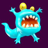 Cute blue tadpole monster. 3D illustration. stock photo