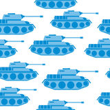 Cute Blue Tank seamless pattern. Vector military background. Arm Royalty Free Stock Photos