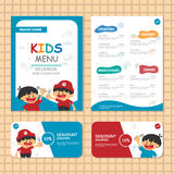 Cute Blue theme kids meal menu vector template with happy 2 boys Royalty Free Stock Image
