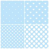Blue tile vector pattern set with white polka dots and hearts on pastel background. Cute blue vector tile pattern set with white polka dots and hearts on pastel vector illustration