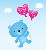 Cute Blue Valentine's Bear Stock Images