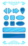 Cute blue vector game user interface. Different shape buttons set Vector Illustration