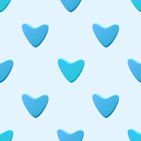 Cute blue vector seamless pattern (tiling) made of hearts. Endless texture can be used for printing onto fabric and paper. Heart shapes texture Royalty Free Stock Photo