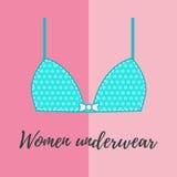 Cute blue woman underwear bra illustration Royalty Free Stock Photos