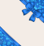 Cute blue wrapping with ribbon bow Royalty Free Stock Image