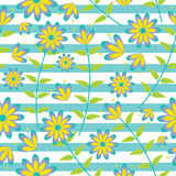 Cute blue and yellow flowers seamless pattern on striped background vector design for fabric clothes background Royalty Free Stock Photo