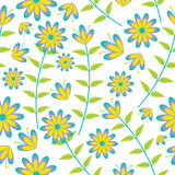 Cute blue and yellow flowers seamless pattern on white background vector design for fabric clothes background Royalty Free Stock Photo