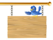Cute bluebird hanging sign royalty free illustration