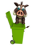 Cute Boar cartoon character with dustbin Stock Photography