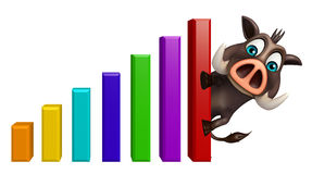 Cute Boar cartoon character with graph Royalty Free Stock Image