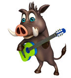 Cute Boar cartoon character with guiter Royalty Free Stock Images