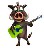 Cute Boar cartoon character with guiter Stock Photos