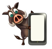 Cute Boar cartoon character with mobile Stock Image