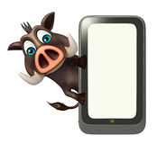 Cute Boar cartoon character with mobile Royalty Free Stock Photo