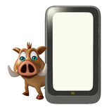 Cute  Boar cartoon character with mobile Royalty Free Stock Photography
