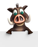 Cute Boar cartoon character with white board Royalty Free Stock Photos