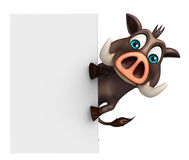 Cute Boar cartoon character with white board Royalty Free Stock Image