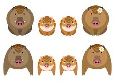 Cute boar family set. Cute family boars set, sitting and standing, mother, father, and children stock illustration