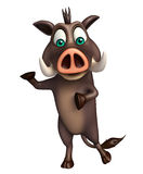 Cute Boar funny cartoon character Stock Images