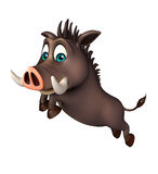 Cute Boar funny  cartoon character with jumping Royalty Free Stock Images