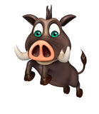 Cute Boar funny  cartoon character with jumping Royalty Free Stock Photography