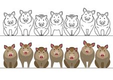 Cute boars border set. With and without colors, line art stock illustration