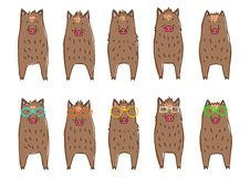 Cute boars border set. Full body standing in a row vector illustration