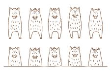 Cute boars border set. Full body standing and upper body in a row royalty free illustration