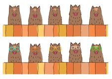 Cute boars border set. Upper body over a fence, in a row stock illustration