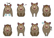 Cute boars elements set. With outlines and colors, doodle touch vector illustration