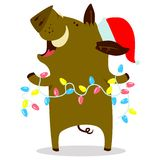 Cute boars or warthog character with Christmas garland. Vector i. Llustration with pig in Santa hat. Winter holidays decorations. Forest inhabitant in cartoon stock illustration