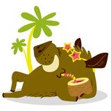 Cute boars or warthog character on relax in tropicat paradise. V. Ector illustration with wild pig with cocktail. Icon in cartoon flat style. Summer season theme stock illustration