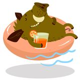 Cute boars or warthog character on swimming circle. Vector icon. Cute boars or warthog character on swimming circle. Vector illustration with wild pig with vector illustration