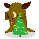Cute boars or warthog character. Vector illustration with pig de. Corating Christmas tree by the gold garland. Forest inhabitant in cartoon flat style. Chinese stock illustration