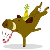 Cute boars or warthog charactercelebrating birthday. Vector illu. Stration with pig with party horn and hat. Forest inhabitant in cartoon flat style. Chinese vector illustration