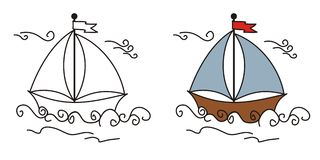 Cute boat. Drawn  with a  graphics tablet Stock Photos