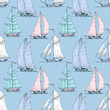 Cute boats background. Cute boats sailing on sea seamless pattern Royalty Free Stock Image