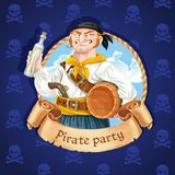 Cute boatswain with a barrel. Banner for Pirate party Stock Photo