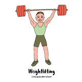Cute bodybuilder sportsman lifting barbell over his head Royalty Free Stock Images