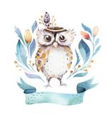 Cute bohemian baby owl animal for kindergarten, woodland nursery isolated decoration forest owls illustration for royalty free illustration